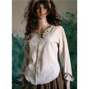 NATUR-ELLA - lenvászon ingblúz  , Ruha & Divat, Női ruha, Blúz, Varrás, Festett tárgyak, Rusztikus lenvászonból készítem ezt a kerekített fazonú, hosszú ujjú blúzomat.\nSzéleit és a középen ..., Meska