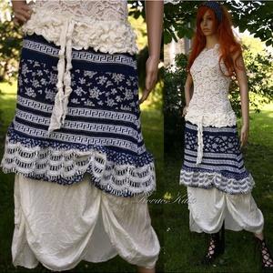 KÉKFESTŐ dupla-szoknya - vintage style lolita - design-szoknya (brokat) - Meska.hu