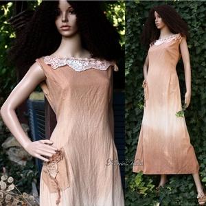ARTSY SLIP / AKVARELLA - design-ruha /mogyoró (brokat) - Meska.hu