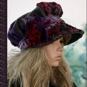 ANTÓNIA - barett-kalap L, Táska, Divat & Szépség, Női ruha, Ruha, divat, Sál, sapka, kesztyű, Sapka, Patchwork, foltvarrás, Varrás, Nagyvonalú, ráncolt-tetejű,nagy-karimás téli kalap romantikus Hölgyeknek.\n\nEzt a darabot egy vintage..., Meska