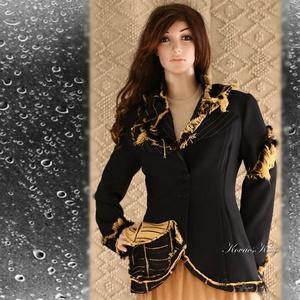 SÁBA - extravagáns zsorzsett design kabátka, Táska, Divat & Szépség, Női ruha, Ruha, divat, Kabát, Kosztüm, Varrás, Foltberakás, A hagyományos szabott zakó extravagáns változata ez az őszi-téli darab.\n\nAnyaga fekete műszálas zsor..., Meska