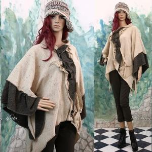 MOKKA - artsy lagenlook kabátka, Táska, Divat & Szépség, Női ruha, Ruha, divat, Poncsó, Kabát, Varrás, Kétféle gyapjúszövetből készült kimonó-ujjú poncsó-kabátka rendhagyó kapocs-záródással,rátett zsebbe..., Meska