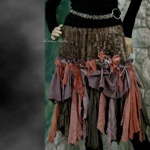 RONGYOS - bohém kézműves szoknya, Táska, Divat & Szépség, Női ruha, Ruha, divat, Szoknya, Festett tárgyak, Varrás, Gyűrt selyem és csillámosan szórt, kézzel-festett tüll -és könnyű pamutvászon-sallangokból álló leng..., Meska