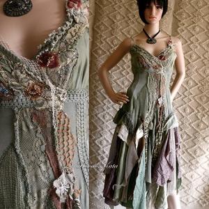 ETA - shabby chic art-design ruha, Alkalmi ruha & Estélyi ruha, Női ruha, Ruha & Divat, Festett tárgyak, Varrás, A művészi vintage stílus szerelmeseinek ajánlom e kollekcióm aprólékos munkával és sok-sok szeretett..., Meska
