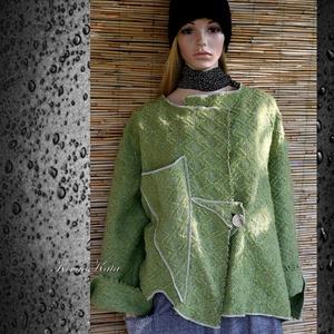 ZÖLDALMA - lagenlook kabátka XXL , Táska, Divat & Szépség, Női ruha, Ruha, divat, Kabát, Varrás, Vastag, rusztikus mintázatú designer-gyapjúszövetből készítettem ezt az új vonalú  kabátkát.\n\nKülönl..., Meska