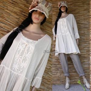SZELLŐRÓZSA tunika  - lagenlook fashion design (brokat) - Meska.hu