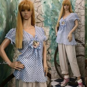 LADY BLUE - vintage blúz  (brokat) - Meska.hu