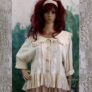 VILMA - csipkés lagenlook ing-kabátka , Ruha & Divat, Női ruha, Blúz, Varrás, Rusztikus vastagabb gézemből terveztem ezt a kedvelt ing-kabátkám.\nElejét antik klöpli csipkével dís..., Meska