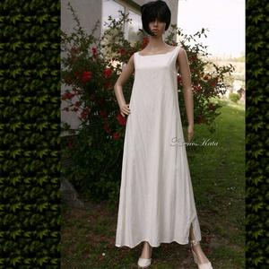 TRAPÉZ-RUHA / EMILY lenvászon trikóruha, plázs-ruha, Ruha, Női ruha, Ruha & Divat, Varrás, Egyszerű, jó szabású, tört-fehér, enyhén karcsúsított hosszú trikóruha, amely ruhatárad alapdarabja ..., Meska