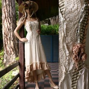 """TAMY - shabby chic design ruha , Táska, Divat & Szépség, Női ruha, Ruha, divat, Ruha, Foltberakás, Varrás, Nyers pamutvászonból készült, hátulra-hosszabbodó, romantikus modellem mellrésze \""""szakadt\"""" hatású pa..., Meska"""