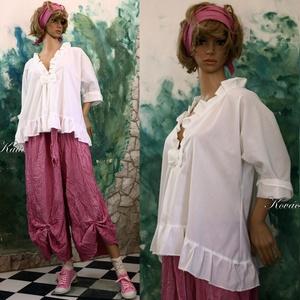 MIA - batiszt-blúz  - lagenlook fashion design (brokat) - Meska.hu