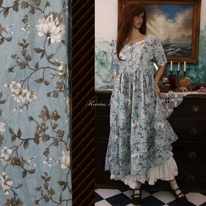 NOÉMI - babydoll-ruha , Ruha, Női ruha, Ruha & Divat, Varrás, Különleges, rózsalonc-mintás pamutvászonból terveztem ezt a romantikus modellem.\nElöl gombos, rakott..., Meska