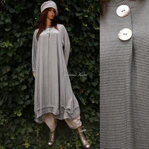 FELICIA - trapéz-ruha  XXL , Ruha & Divat, Női ruha, Ruha, Ezt az elegáns, hosszú ing-ruhát szép-esésű, hűvös tapintású, apró-pepita viszkóz-selyemből készítet..., Meska