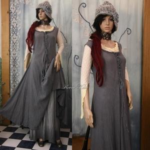 VINTAGE  SIKK ...................SZÜRKE  kirtle  - romantikus design-ruha, Ruha, Női ruha, Ruha & Divat, Festett tárgyak, Varrás, Rusztikus, puha pamutvásznamból készítettem a kora-középkori kirtle általam modernizált szabásmintáj..., Meska