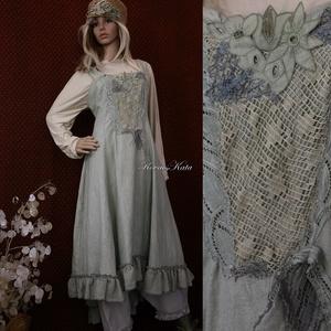 LAURA - kötényruha XL  - artsy lagenlook fashion design (brokat) - Meska.hu