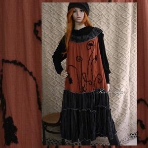 ROXI - kötényruha XXL  - artsy lagenlook fashion design (brokat) - Meska.hu