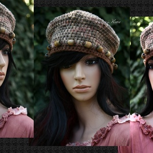 MONALISA - fagyöngyös horgolt gyapjú kalapka (brokat) - Meska.hu