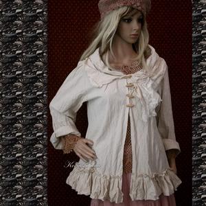 NOÉMI kabátka  - kézműves lagenlook ruha, Táska, Divat & Szépség, Női ruha, Ruha, divat, Kabát, Varrás, Nyersvászonból terveztem  ezt a hosszú tölcsérujjú, különleges kámzsa-nyakú  modellemet.\nFagombokkal..., Meska