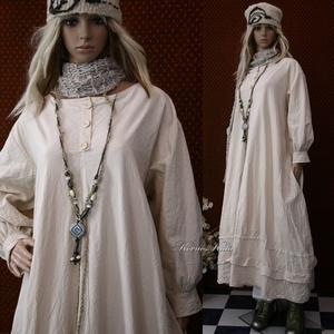 ELMA - kézműves lagenlook ingruha , Ruha & Divat, Női ruha, Ruha, Varrás, A hűvösebb napokra sűrű szövésű, nyers kékfestő-vászonból készítettem ezt a körte-szabású, túl-méret..., Meska