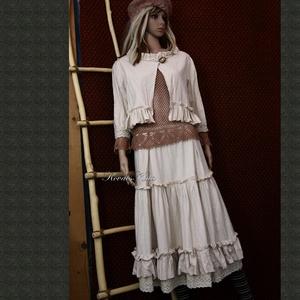 NYIRFÁCSKA / tél - romantikus lagenlook szett, Táska, Divat & Szépség, Női ruha, Ruha, divat, Kosztüm, Szoknya, Kabát, Varrás, Puha, nyers, vastag barchendből terveztem ezt a látványos kétrészest.\nKészülhet színezett változatba..., Meska