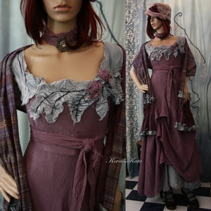 MAGNÓLIA-szett  -  iparművész lagenlook öltözet, Női ruha, Ruha & Divat, Alkalmi ruha & Estélyi ruha, Festett tárgyak, Varrás, Rusztikus, vastagabb pamutgézemből készült ez a látványos, mályva színre kézzel festett öltözet.\nA h..., Meska