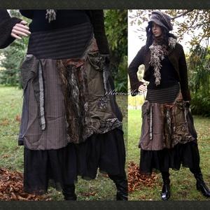 BOSZI-SZOKNYA  - iparművész patchwork szoknya, Szoknya, Női ruha, Ruha & Divat, Varrás, Patchwork, foltvarrás, Válogatott gyapjú-szövetekből készült őszi-téli patchwork-szoknya.\nFodros muszlin-béléssel, ami a fo..., Meska