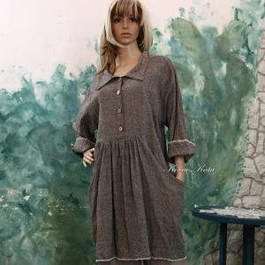 KATA - lenvászon ruha - lagenlook fashion design (brokat) - Meska.hu