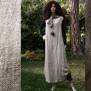 ZSÁKRUHA - lenszövet trapézruha , Ruha & Divat, Ruha, Női ruha, A cím szó szerint értendő:  kellemesre puhított, zsák-szerű 100% lenszövetből készült ez az egyszerű..., Meska