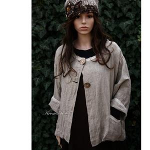 """ZSÚR kabátka, Táska, Divat & Szépség, Női ruha, Ruha, divat, Kabát, Varrás, Ezt a darabot puhított, zsák-szövésű 100% \""""flax\"""" nyers lenszövetből terveztem \nRövid-állású kabátka ..., Meska"""