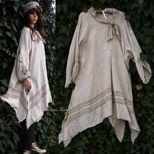 LŐDÖRGŐ lagenlook lenkabátka, Ruha & Divat, Női ruha, Kabát, Varrás,  Béleletlen lenvászon-kabátka a réteges öltözködéshez:\nkülönleges, puhított 100% lenszövetből, rejte..., Meska