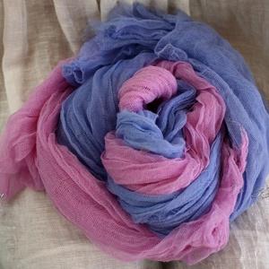 TWEENS : HAWAII - batikolt géz sál - kettős / pink és encián, Sál, Sál, Sapka, Kendő, Ruha & Divat, Festett tárgyak, Kreatív ruhatárad nélkülözhetetlen darabjai lehetnek ezek a pihe-puha mull-gézből szabott, kézzel fe..., Meska