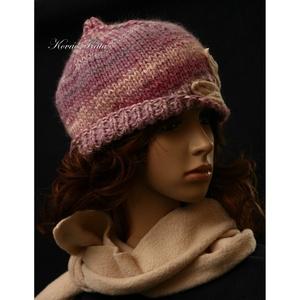 RÓZSALONC - kézműves hagyma kalapka polár sállal - ruha & divat - sál, sapka, kendő - sapka & sál szett - Meska.hu