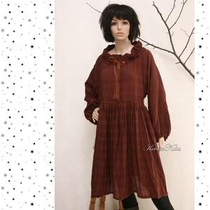 THALIA  - romantikus lagenlook  ruha XXL, Táska, Divat & Szépség, Női ruha, Ruha, divat, Ruha, Varrás, Csoki-barna könnyű, rusztikus viszkóz kelméből készült nagy méretű baby-doll ruha.\nA nyakkör befűzöt..., Meska
