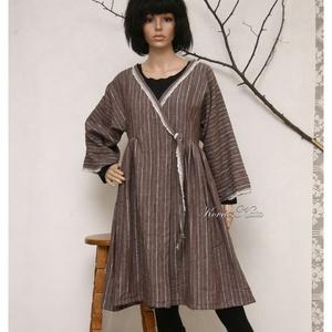 MOKKA kabátruha, Ruha & Divat, Női ruha, Ruha, Varrás, Lagenlook öltözetekhez:\nÁtkötős új modellemet puha, ezüstszálas csíkos lenszövetből készítettem, az ..., Meska
