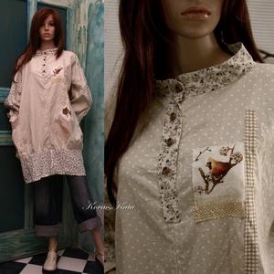 KOLIBRI - design-tunika XXL, Ruha & Divat, Női ruha, Tunika, Finom pasztell fantázia-tunika pöttyös-virágos puha vászonból. Rátétekkel, kényelmes foltzsebbel, la..., Meska