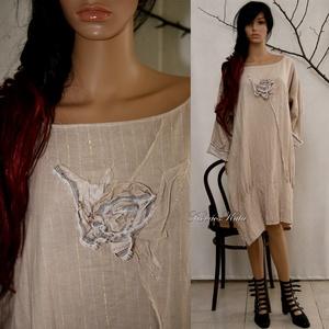 KEHELYRUHA - lagenlook tunikaruha, Ruha & Divat, Női ruha, Ruha, Varrás, Új-vonalú modellemet puha, ködös árnyalatú nyers-színű, arany-és ezüstszálas csíkos lenszövetből kés..., Meska