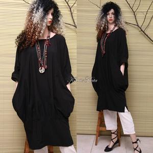 KEHELYRUHA - lagenlook tunikaruha, Ruha & Divat, Női ruha, Ruha, Varrás, Új-vonalú modellemet jó tartású, sűrű szövésű, holló-fekete pamut-vászonból készítettem, bőségét alu..., Meska