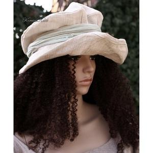 ANDERSEN - design-kalap - kézzel szőtt lenvászonból, Ruha & Divat, Sál, Sapka, Kendő, Kalap, Varrás, Festett tárgyak, Romantikus mesék ihlette kézzel-szőtt vastag lenvászonból készült, felhajtós-karimájú fejfedő.\nKézze..., Meska