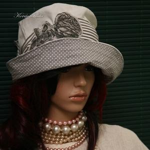 RÓZA - nyári design-kalap, Ruha & Divat, Sál, Sapka, Kendő, Kalap, Varrás, Foltberakás, Vízparti nyaraláshoz, városi sétákhoz:\n\nSelymes felületű, könnyű ripszvászonból terveztem ezt az öbl..., Meska