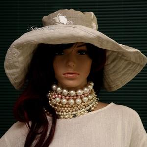 EMILIA - extravagáns lenvászon kalap, Ruha & Divat, Sál, Sapka, Kendő, Kalap, Varrás, Ez a széles karimájú kalap nemcsak látványos, de jól védi a fejet és a nyakat a káros napsugaraktól...., Meska