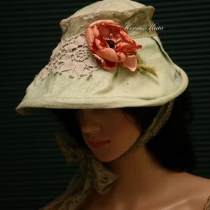 BIEDERMEIER - artisztikus antik lenvászon kalap, Ruha & Divat, Sál, Sapka, Kendő, Kalap, Festett tárgyak, Varrás, Rusztikus, antik, kézzel szőtt lenvászonból terveztem ezt a romantikus, főkötő-szerű egyedi modellem..., Meska