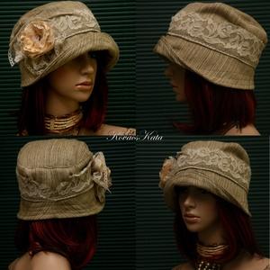 MARIE cloche - lenszövet flapper kalap (brokat) - Meska.hu