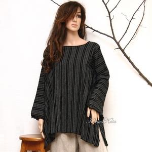 T-SHIRT - csíkos len-tunika, Ruha & Divat, Női ruha, Tunika, Rusztikus elegancia: Fekete-fehér közepes vastagságú lenszövetből terveztem ezt az egész évben jól h..., Meska
