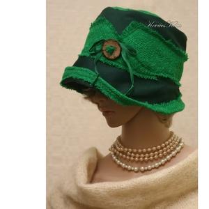 FANNI cloche - mesezöld design kalap (brokat) - Meska.hu