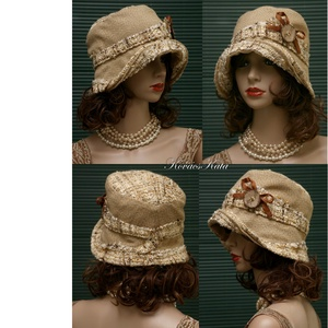FANNI cloche - rusztikus design kalap (brokat) - Meska.hu