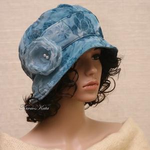 SASKIA / türkiz - romantikus design-kalap L, Táska, Divat & Szépség, Női ruha, Ruha, divat, Sál, sapka, kesztyű, Sapka, Varrás, Kétrétegű - türkiz színű rózsa-mintás jacquard jersey és kék pamut-jerseyből készült  - részekből sz..., Meska
