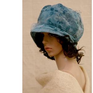 SASKIA / türkiz - romantikus design-kalap L (brokat) - Meska.hu