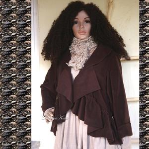 LAURA - lagenlook polár-kabátka / csokoládé, Táska, Divat & Szépség, Női ruha, Ruha, divat, Kabát, Varrás, Új-vonalú kiskabátom réteges öltözködéshez:\n\nCsokoládé-barna puha, meleg polárból készült,  fodrosan..., Meska