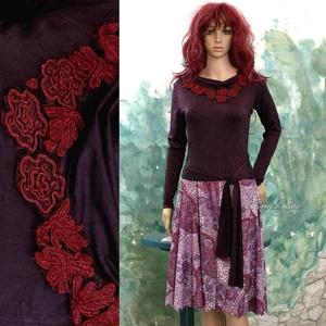 ANDREA - jerseyruha, Ruha & Divat, Női ruha, Ruha, Varrás, Ezt a modellem kétféle jersey kombinációjából állítottam össze.\nA hosszú-ujjú top különleges, hűvös,..., Meska