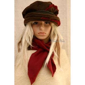 PILLE-szett / barna polár-kalap sállal - ruha & divat - sál, sapka, kendő - sapka & sál szett - Meska.hu